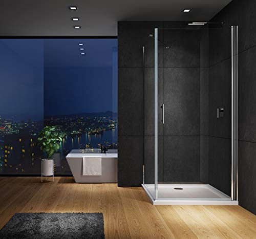 IMPTS 90 x 90 cm Pendeltür Duschkabine Eckeinstieg Duschtür mit 90 cm Seitenwand Duschwand Duschabtrennung Glas Höhe 195 cm,OHNE Duschtasse