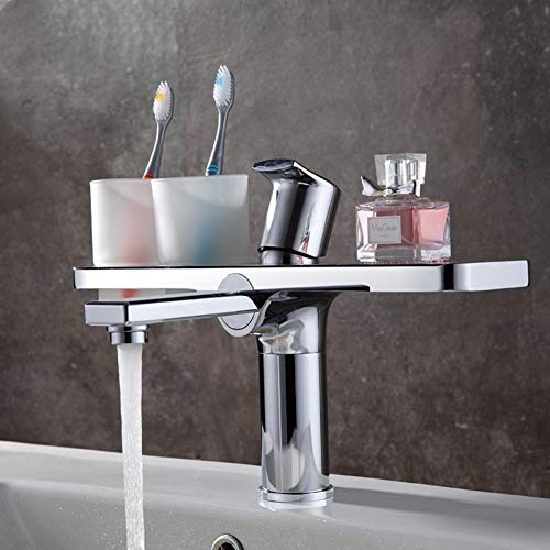 YCEOT Massief Messing Badkamer wastafel Kraan Opklapbare Basin Mixer Kraan met Dubbele Tandenborstel Cup Houder