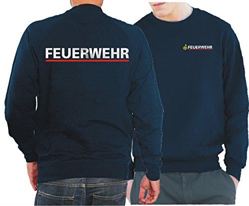 feuer1 Sweatshirt Navy, BaWü Stauferlöwe nach VwV mit Rückendruck Feuerwehr
