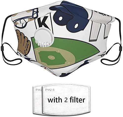 YRUI Wiederverwendbare Gesichtsmaske, Baseball-Artikel mit Luftventil und verstellbaren Ohrringen, geeignet für den öffentlichen Gebrauch im Freien, 2 Filter Balabalava Kappe