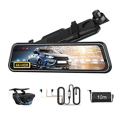 4K Dash Cam Specchietto con kit di cablaggio Telecamere a doppio obiettivo anteriore e posteriore con telecamera di backup impermeabile Telecamera per specchietto retrovisore full touch da 10 pollici