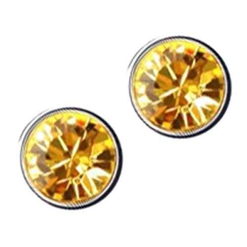 GWG Jewellery Pendientes Mujer Regalo Pendientes, Chapados en Plata de Ley Cristal Brillante Redondo de Colores Varios para Mujeres