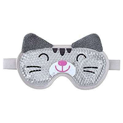 Gel Eye Mask Reusable Cooling Eye Mask with Flexible Gel Beads Hot Cold Therapy for Puffy Eyes, Migraine -Gray Cat