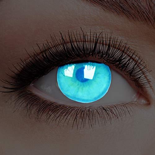Farbige Kontaktlinsen Leuchtend ohne Stärke Rand Glow Electric Blue UV Blau Motiv-Linsen Halloween Karneval Fasching Cosplay Anime Manga Blaue Augen Eye Devil Neon Deep Dunkelblau