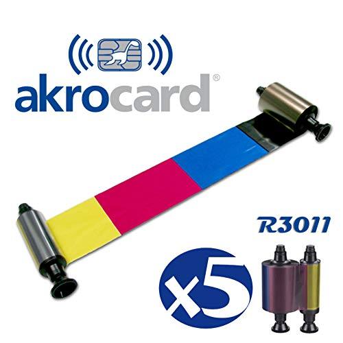 Pack 5 Unidades - RIBBON R3011 - Cinta de color de cinco paneles: amarillo, magenta, cian, negro y barniz para impresora de tarjetas - 200 impresiones - Compatible con: Pebble, Pebble 3, Pebble 4, Dualys, Dualys 3, Quantum y Securion.