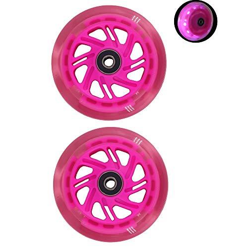 BLAZETOY Freedare Scooter Rollen mit Kugellager, Scooter Ersatzräder 100 mm LED Räder (klar pink, 2 Stück)