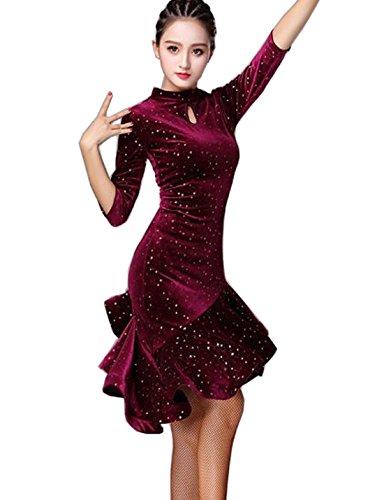 Latin Dance Dress Velvet Dress Ballroom Skirt Waltz Skirt Rumba Dress Cha Cha Dress red L