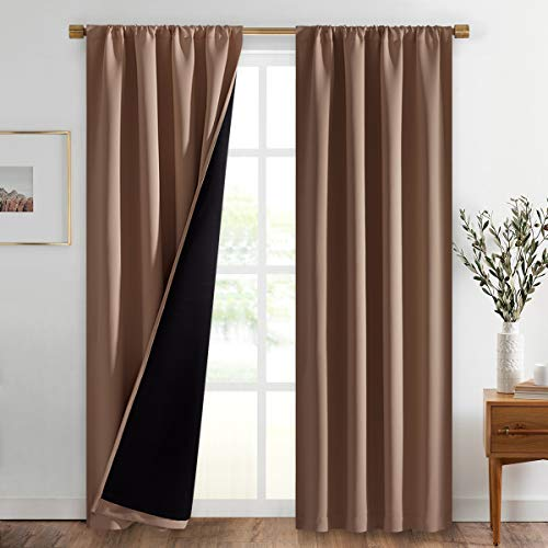NICETOWN 100% Blackout Curtains Thermal, Noise Reduction and Privacy Curtains for Patio Door, Black Lined Blackout Drapes with Rod Pocket, Taupe, 1 Pair, W42 x L84