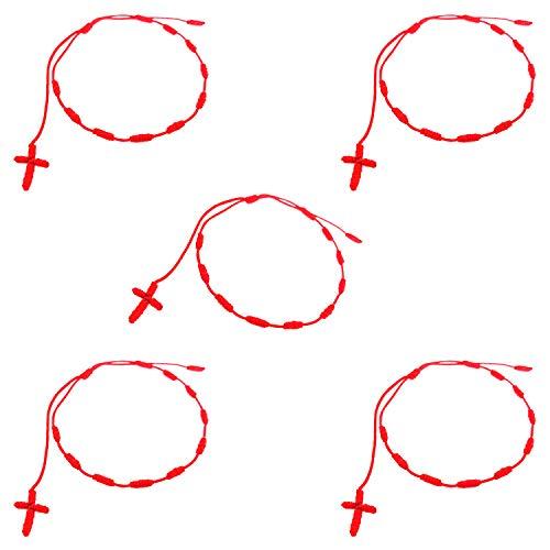 YouU Conjunto de 5 pulseras hechas a mano con cruz de rosario, Pulseras Decenarios (Rojo)
