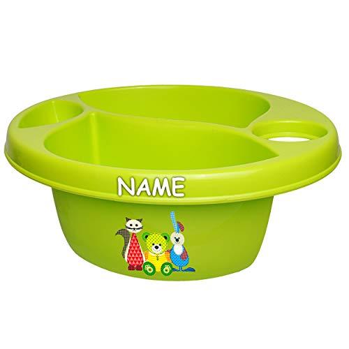 alles-meine.de GmbH Waschschüssel / Kinderwaschbecken - grün - apfelgrün _ Tiere - Teddy - Katze - Hase _ inkl. Name - Bieco - 3 Kammern - Baby - Putzeimer - Windeln Wickelschüss..
