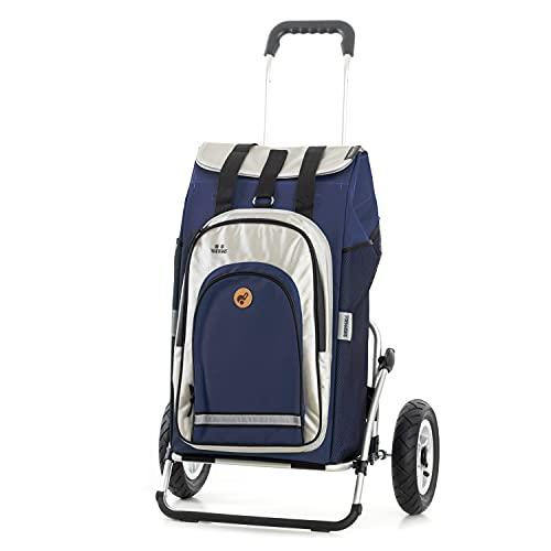 Andersen Shopper Royal XXL Sondermodell Alu klappbar mit Luftreifen Ø 25 cm und 62 Liter Tasche Hydro 2.0 mit Kühlfach blau, Zweite Wahl