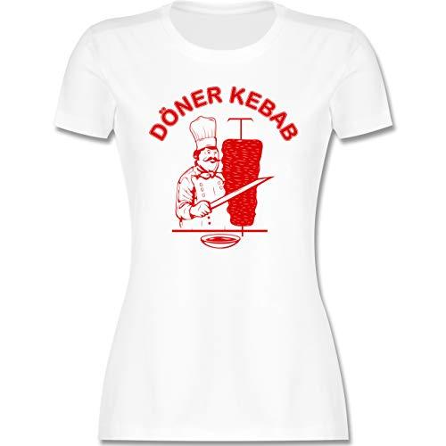 Statement - Original Döner Kebab Logo - S - Weiß - döner Tshirt Damen - L191 - Tailliertes Tshirt für Damen und Frauen T-Shirt