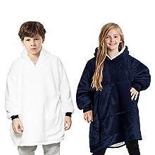 Manta con capucha para niños/as, bata de forro polar supersuave, cálida y cómoda, tamaño extragrande, talla única para niños y adolescentes