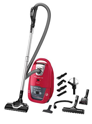 Rowenta RO7793EA Silence Force Allergy+ Home & Car stofzuiger met zak (grote stofzakcapaciteit: 4,5 liter, energiezuinige EffiTech-motor, extra lange 8,4 m netsnoer) rood/zwart
