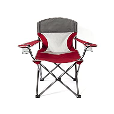 Mac Sports Heavy Duty Big Comfort XL Folding Quad Outdoor Camp Chair with Carry Case, Red