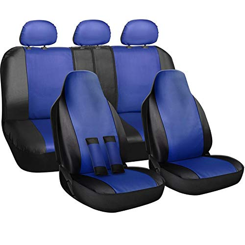 Motorup America Car Seat Cover - Full Set Mesh Grip Style, Black and Blue - Fits Select Vehicles Cars, Truck, Van and SUV