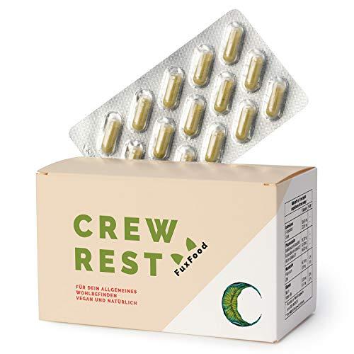 crewREST® - Natürliche Quelle für Melatonin und Serotonin | Pflanzenkomplex mit L-Tryptophan, Magnesium, Baldrian, uvm. | 90 Kapseln | Extra Stark | Rezeptfrei und Vegan