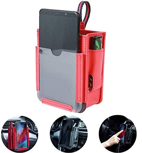 FMJHCW 2020 Upgrade PU Car Air Vent Organizer Holder, 4 in 1Car Pocket with Charging Port, for Phone,Cell Phone,Pencil,Charger (red)