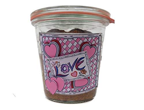 """Zum Verlieben schön: Marmorkuchen mit Eierlikör und Schokolade im Glas gebacken mit Geschenk-Etikett """"Love"""" (2008)"""
