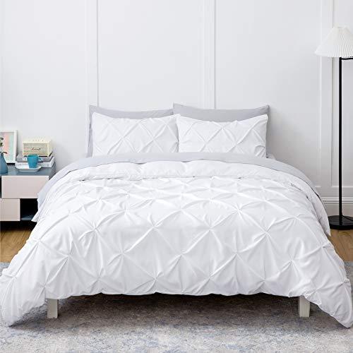 Bedsure White Duvet Cover Twin Size - Pinch Pleated Twin Size Duvet Cover Set with Zipper Closure, Microfiber Pintuck Duvet Cover(White, Twin)