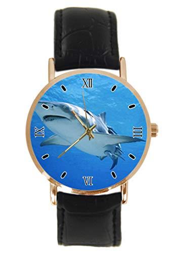 Shark Reloj de Pulsera clásico Unisex analógico de Cuarzo con Caja de Acero Inoxidable y Correa de Cuero
