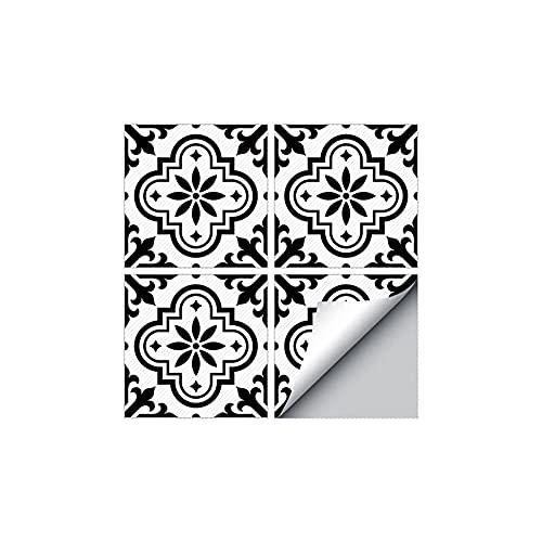 PMSMT Pegatinas de Suelo de baldosas Blancas y Negras clásicas Europeas Adhesivas 3D para decoración de pasillos de Cocina Papel Tapiz Impermeable