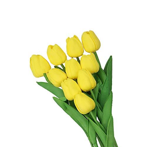 10 tallos de Navidad artificiales amarillos entregados con tulipanes artificiales de tacto...
