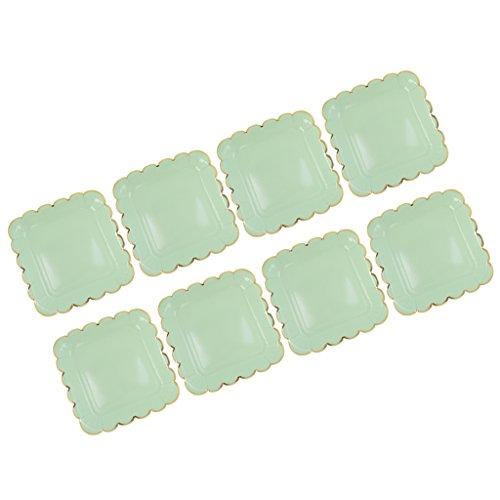 Sharplace Paquete de 8 Platos de Flores Desechables de Papel de 9 Pulgadas para Vajilla de Fiesta de Cumpleaños DIY - Verde, Individual
