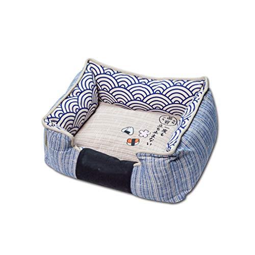 LRR Rechteck Haustier Hundebett Orthopädische Waschbar Hund Schlafsofa Kissen Matratze 65 * 55 * 25 cm-Blue