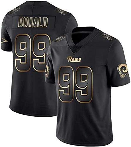ZQN # 99 Los Angeles RAMS de fútbol Americano Camiseta, Aaron Donald Hombres Rugby Jersey Bordado de Manga Corta Deportes Top, de Deportes del chándal,M