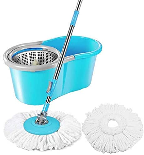 PYXBE Microfiber Spin Mop With Easy Wheels And Bucket For Magic 360 Degree Cleaning With 2 Refills Assorted Colour