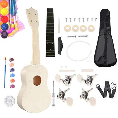 Conzert ukelele bouwset, doe-het-zelf ukelele kit houten behuizing gitaar voor kinderen beginners tieners volwassenen kunstproject met installatie tools pegs snoer brug groef