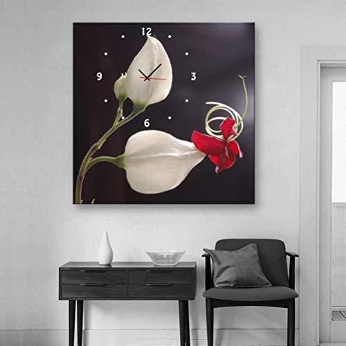 TWL LTD Moderne Wohnzimmer Esszimmer Dekoration Malerei Stumm Uhr Leinwand Malerei Einzelne Wanduhr Blume Reim mit Rahmen, Uhren und Gemälde, 1PCS, 40 * 40 cm