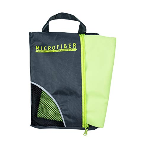 Toalha de Micro Fibra, Compacta e Leve, Ótima para Esportes e Viagens (Verde)