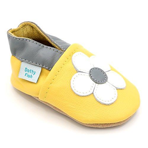 Imagen para Dotty Fish Zapatos de Cuero Suave para bebés. Antideslizante. Flor Amarilla y Blanca. 0-6 Meses (17 EU)