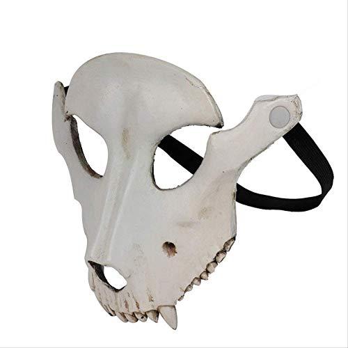 WENHAODJ Cabra de Halloween Máscara con Forma de cráneo Horror Cosplay Mascarada Fiesta Oveja Cráneo Máscara Facial Beige