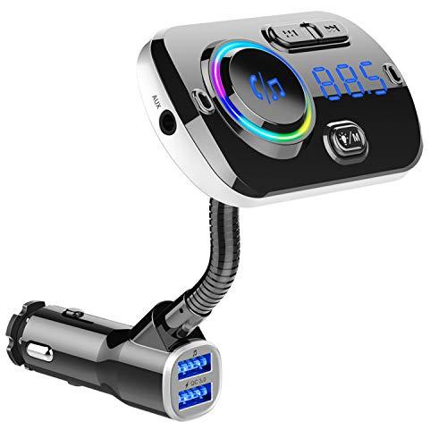 FMトランスミッター Bluetooth5.0 シガーソケット Mp3プレーヤー Siri&Google Assistant対応 ハンズフリー通話 ワイヤレス式 QC3.0急速充電 2ポート TFカード/USBディスク/Bluetooth/Aux-in対応 Android/Iphone兼用 360°調整可能 7色LEDライト 高音質 ノイズ軽減 電圧測定12~24V車対応