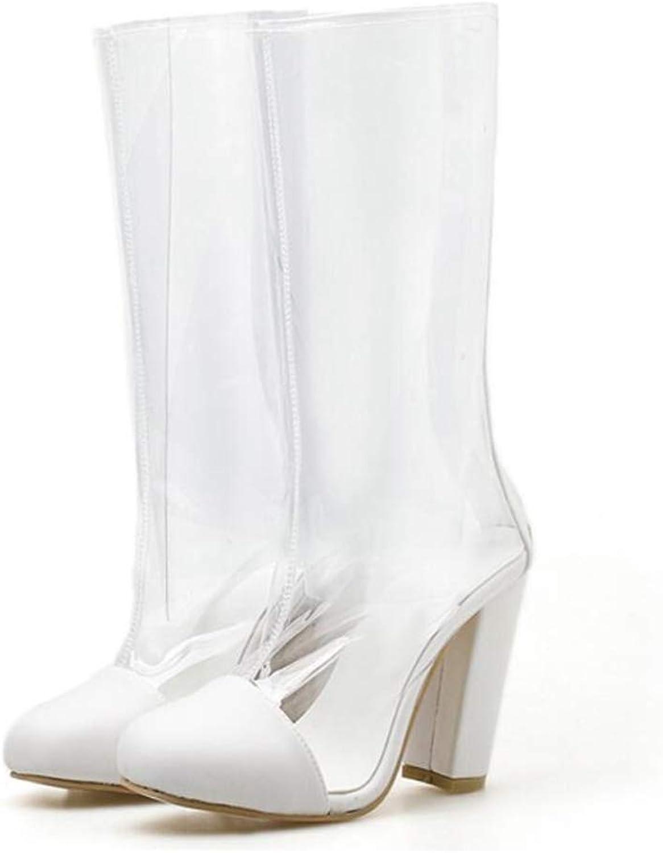 Mode kvinna Mid Calf stövlar Round Toe Square hög klack klack klack vattentät Zipper utomhus skor  spara på clearance