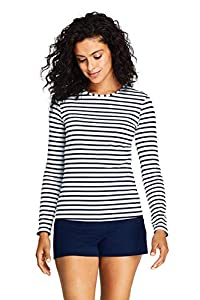 Lands' End Womens Long Sleeve Swim Tee Rash Guard White/deep Sea Stripe Regular X-Large
