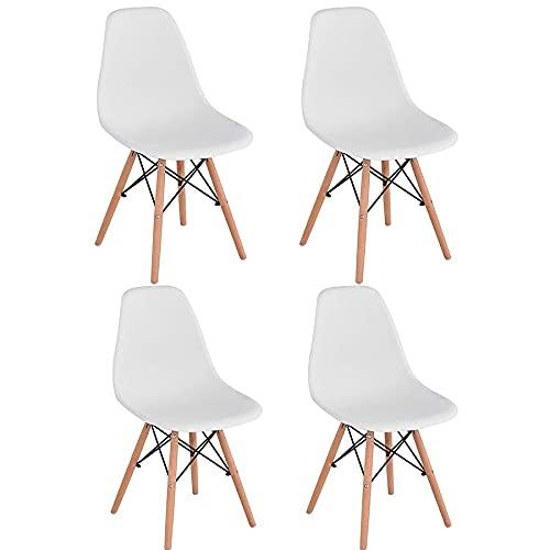 Brigros - Sedie da cucina 4 pezzi bordeaux, sedie moderne design, sedie bianche scandinave, sedie sala da pranzo set di 4 sedie con gambe in legno (Bianco)