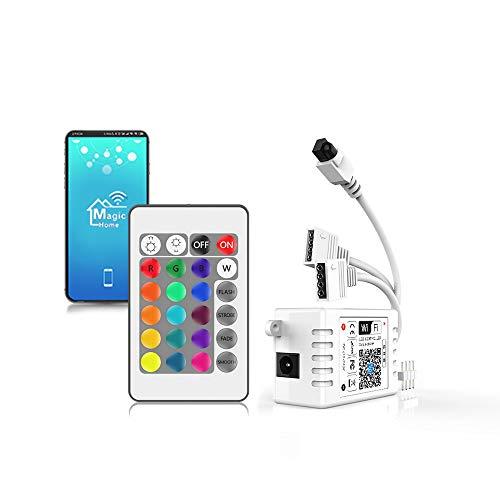 Arote LED Controller WIFI RGB Wlan Smart Led Strip wifi Kontroller mit 24 Tasten IR Fernbedienung für 5050, 3528 Stripe Streifen, Sound Aktiviert,16 Mio Farben, 20 Dynamische Modi