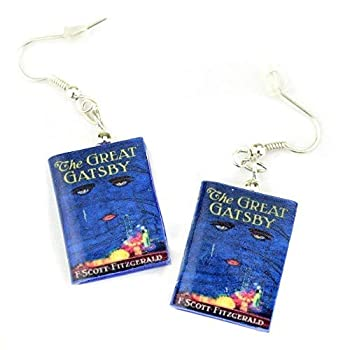 The Great Gatsby F Scott Fitzgerald Clay Mini Book Hypoallergenic Earrings Officially Licensed