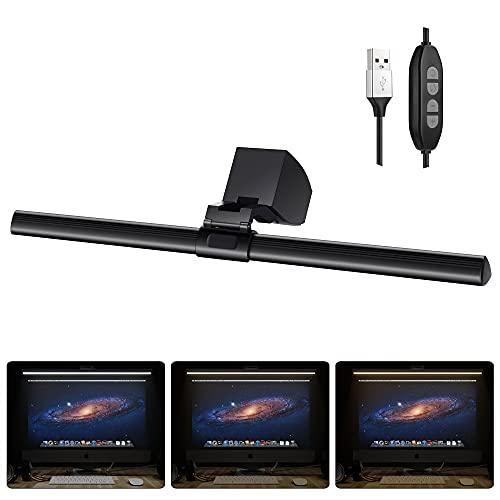 Lampada Scrivania, Lampada per Schermo, lampada da Scrivania a LED, Luci per Schermo del Monitor con USB, 3 Modalità di Illuminazione Regolabili, Luce Dimmerabile del Monitor 40cm