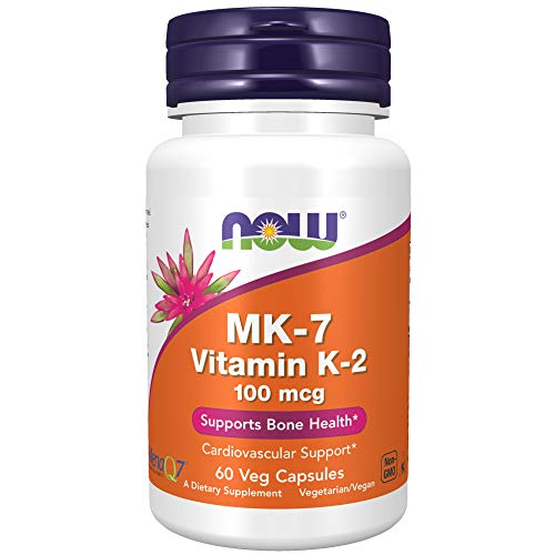 NOW Supplements, MK-7 Vitamin K-2 100 mcg, Cardiovascular Support*, Supports Bone Health*, 60 Veg Capsules