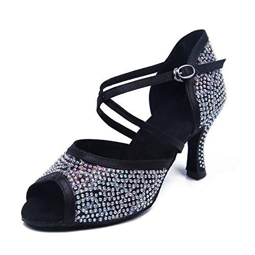 Syrads Zapatos de Baile Latino con pedrería para Mujer Salsa Tango Bachata Zapatos de Baile de Salón Suela Blanda 1071-1