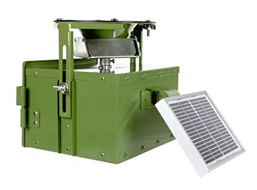 EUROHUNT Futterautomat Pro 12V, Komplettset, Automat für Tierfütterung mit Solarpanel & 12V-Akku + Ladegerät, wetterfest, grün, ca. 22,5x20,5x18cm