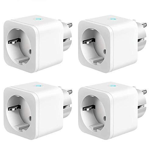 4 x Enchufe Inteligente WiFi 16A 3300W Mini Smart Plug Funciona con Siri Amazon Alexa, Echo, Google Home, No se requiere Hub, Función de Temporizador, App Android - IOS [Pack 4 unidades]