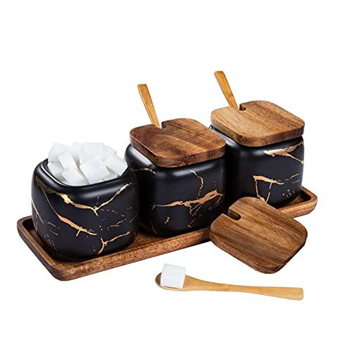 Set Zuccheriera in Ceramica, 3 pz Condimento Box con Coperchio e Cucchiaio e Vassoio, Spezia Jar Cucina Scatola Barattolo di Spezie, Utensili da Cucina Forniture per Spezie, Nero