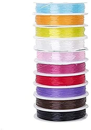 RTUTUR Hilo de cordón de Reborde elástico de 0,6 mm de Cristal Macrame Brazalet String String String String Bricolaje Joyas Haciendo Color Mixto 10 Rollos.
