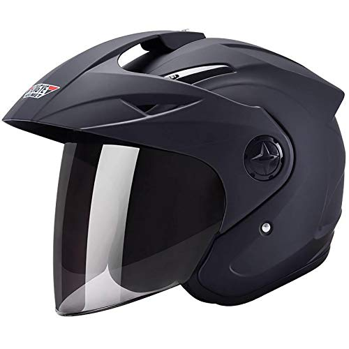 MTTKTTBD Retro Harley Jet-Helm,3/4 Elektrisch Motorradhelm mit Doppelvisier für Damen Herren,Roller-Helm Mofa-Helm Scooter-Helm Bobber Chopper Crash Cruiser Biker Racing Brain-Cap